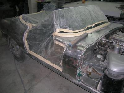 70's Jaguar stripped to bare metal ready for epoxy